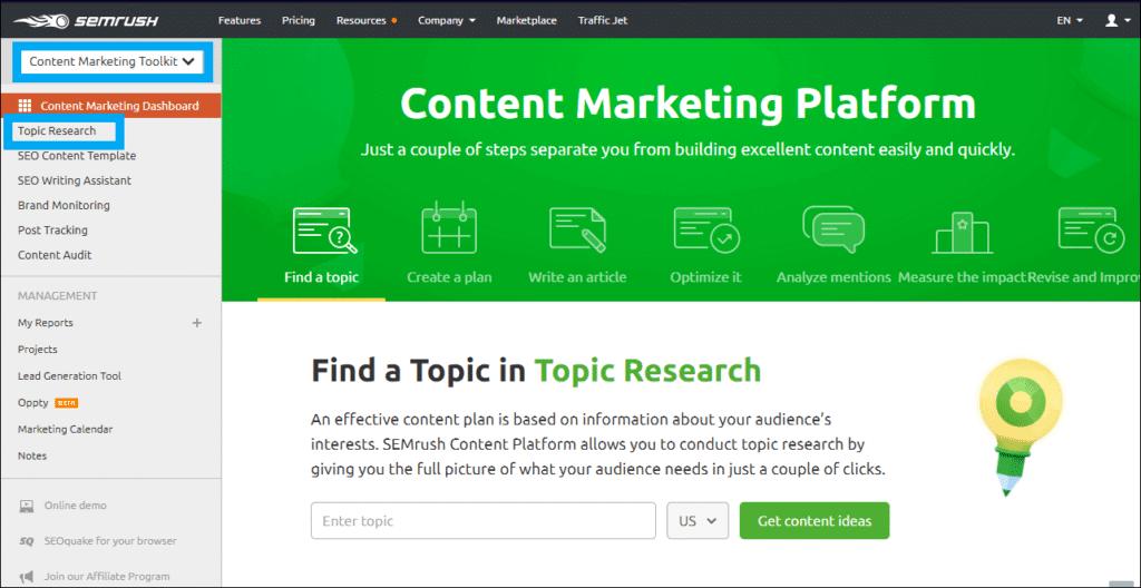 SEMRUSH content marketing tool and platform
