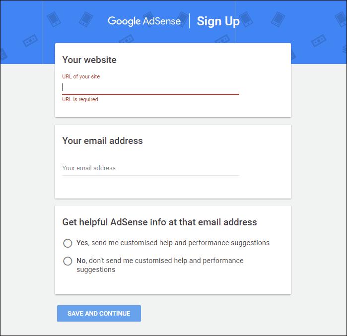AdSense Signup process