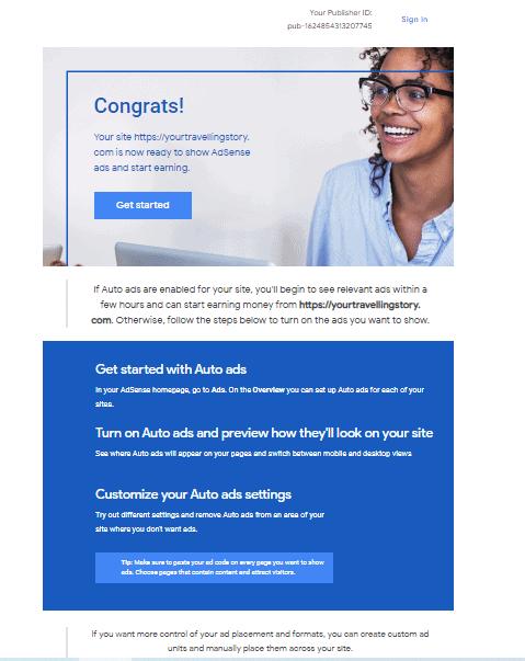 adsense approval mail