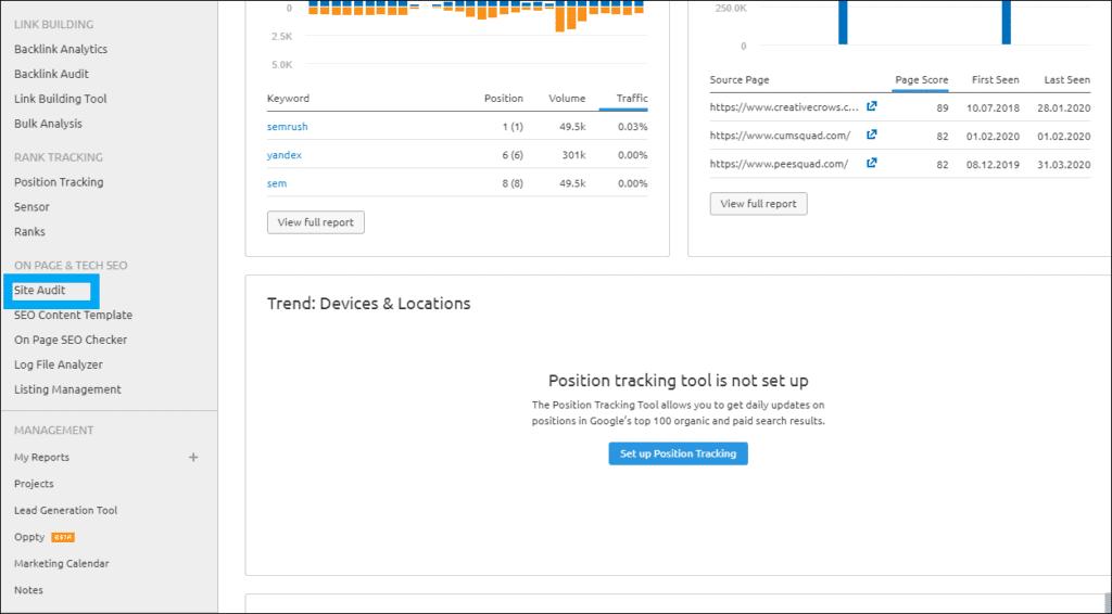SEMRUSH Website Audit, SEO audit, PPC and Content audit