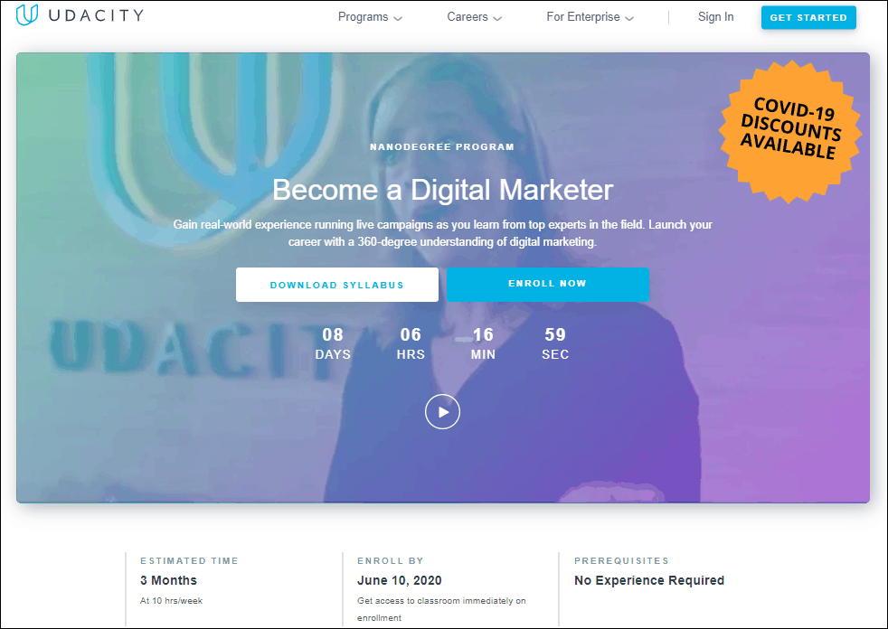 Udacity Digital Marketing Course - %title%- The Blue Oceans Group