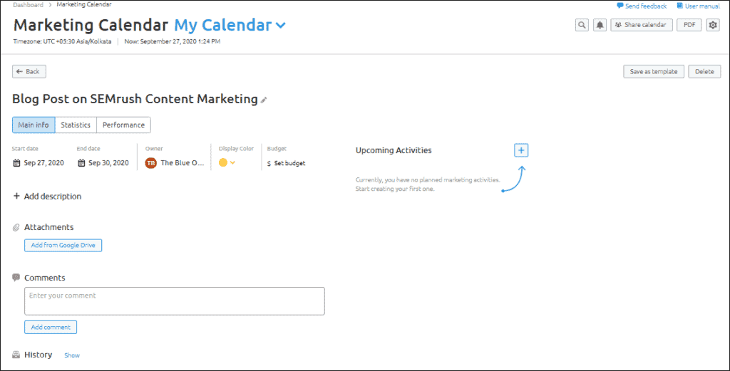 SEMrush content marketing calendar and campaign editor