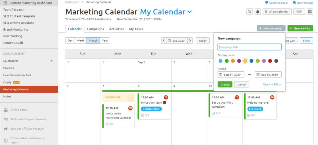 SEMrush content marketing calendar to run a campaign