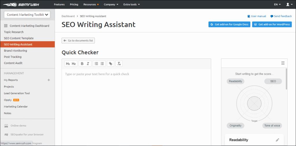 SEMrush SEO Writing Assistance