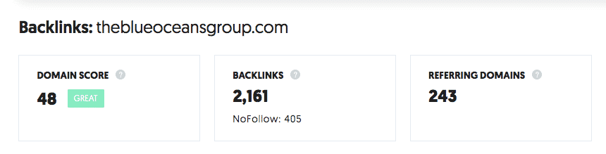 The Blue Oceans Group Domain Score and Backlinks