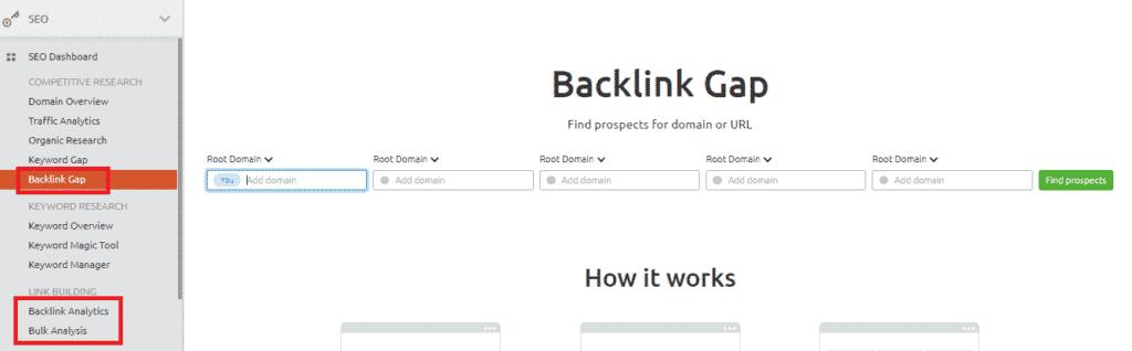 Semrush link building software for backlink gap analysis