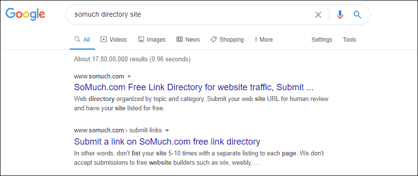 Directory site indexed and crawled