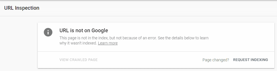 URL not on Google Search Console