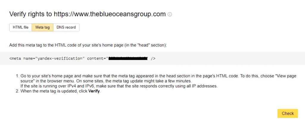 yandex verification 1 - %title%- The Blue Oceans Group
