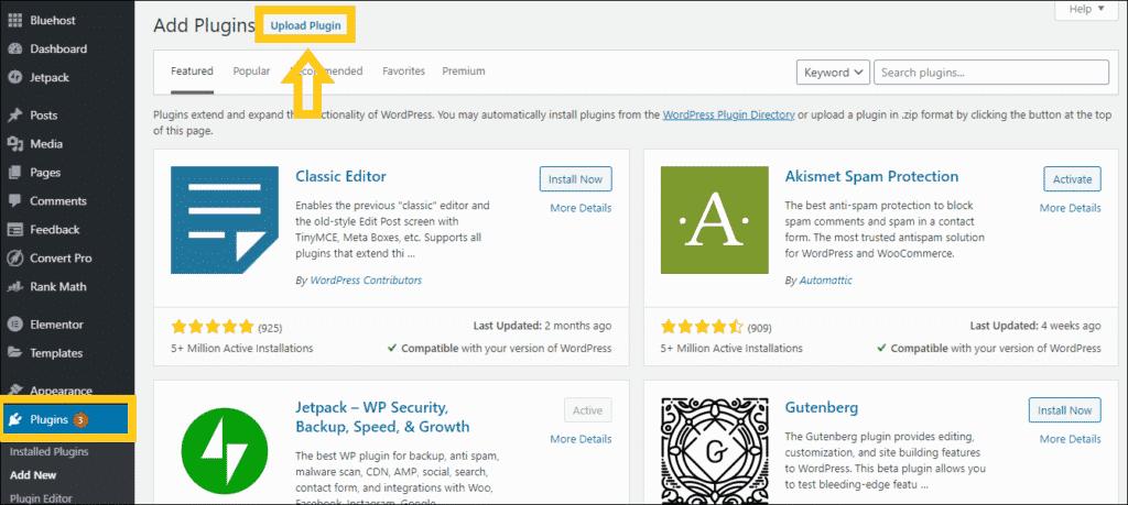 install astra plugins to wordpress site