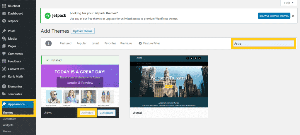 install wordpress theme- astra