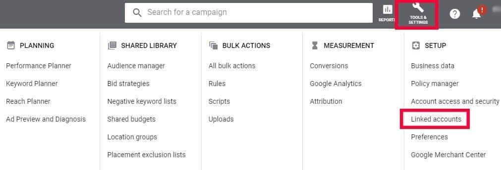 """Login to Google Adwords  and click Tools and settings and then click """"Linked Accounts"""""""
