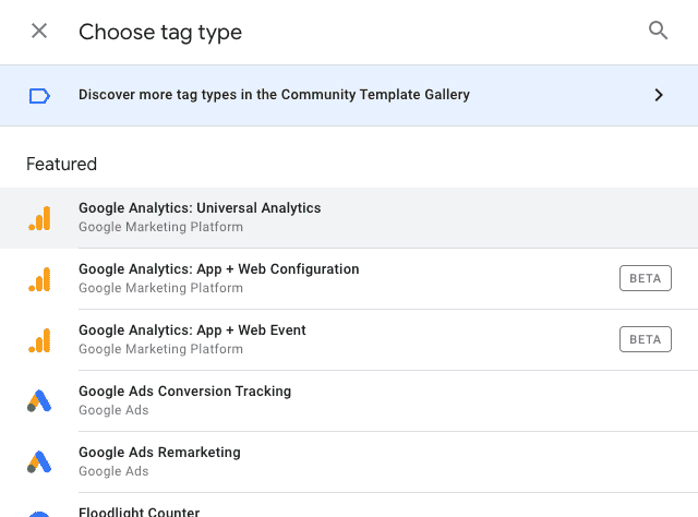 Choose tag type for creation of New Tag in Google Tag Manager