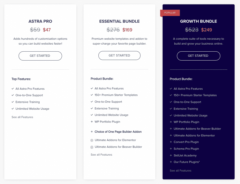 Astra Theme Pricing