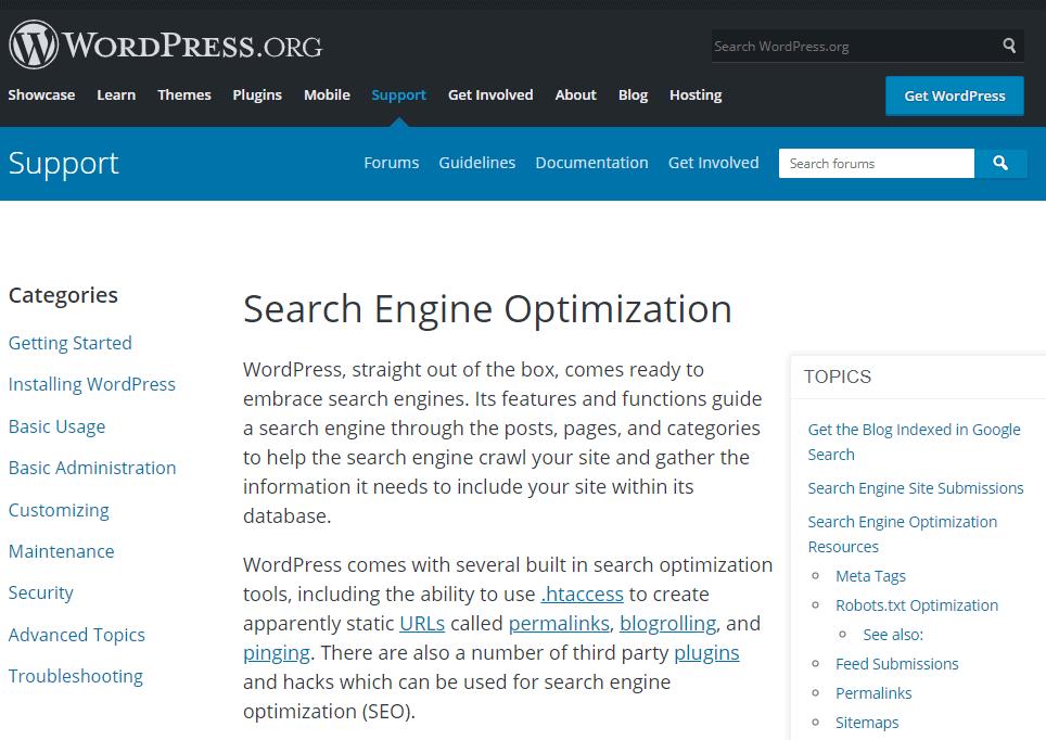 WordPress SEO in wordpress.org