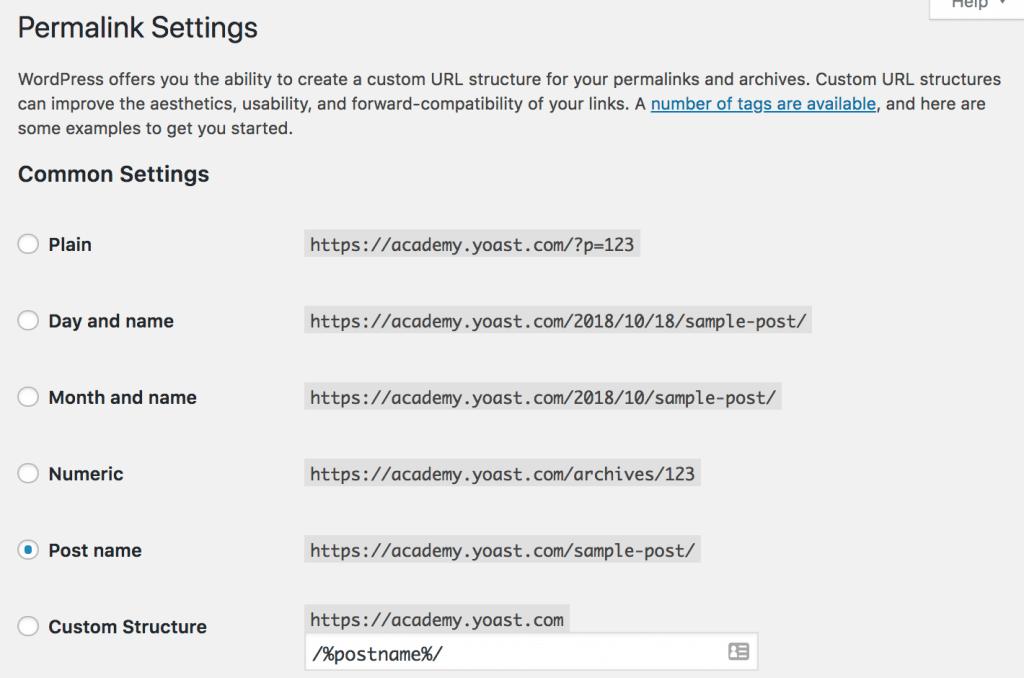 Permalink settings for WooCommerce SEO