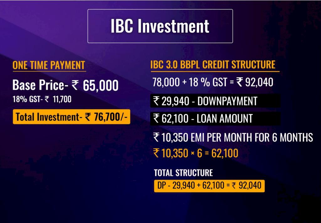 IBC Joining Fees Vivek Bindra